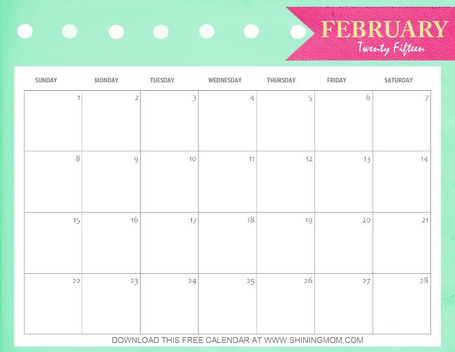 cute printable calendar february 2015