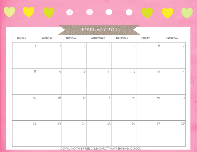 Designs Youll Love Free Printable February 2015 Calendar
