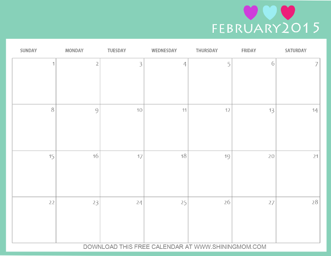 printable february 2015 calendar by shining mom