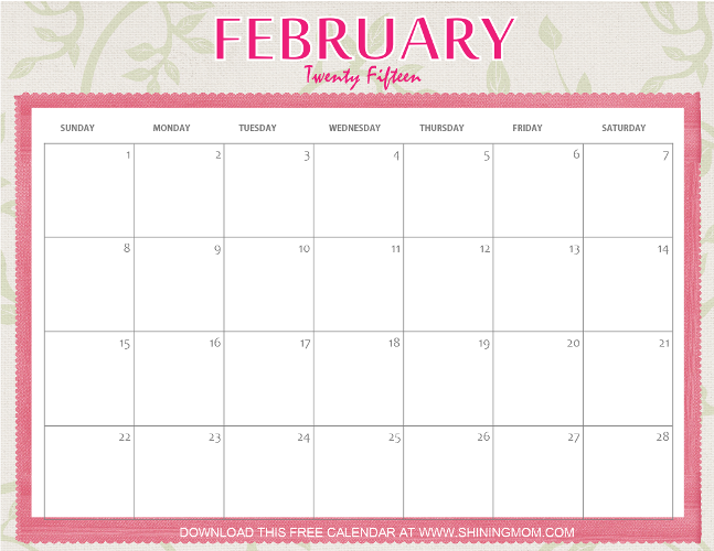2015 February Calender Modifiable Cute | New Calendar Template Site