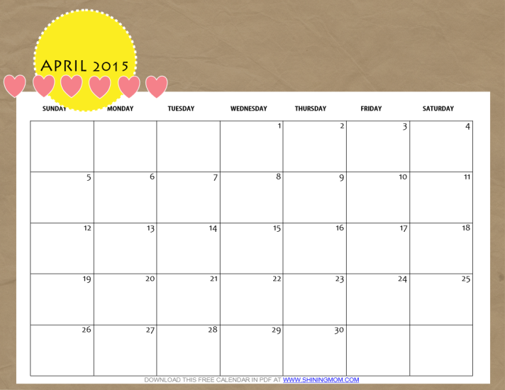 712 x 550 png 142kB, Free Printable April 2015 Calendar by Shining Mom