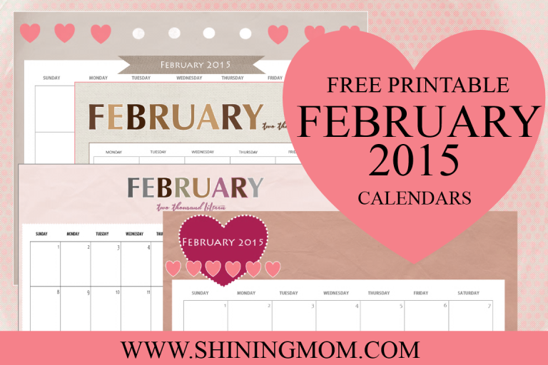 FREE PRINTABLE FEBRUARY 2015 CALENDAR BY SHINING MOM