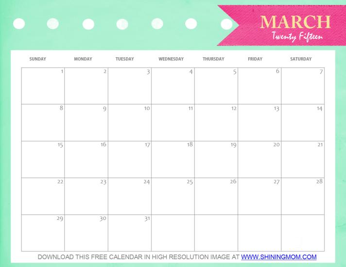 March 2015 printable calendar