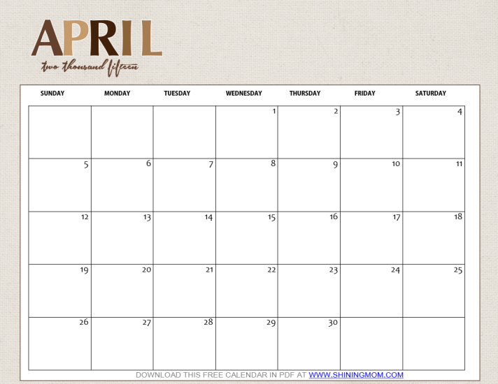 Calendar Girl April Pdf : Free printable april calendar by shining mom