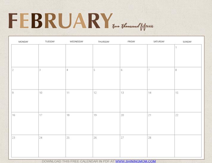 february 2015 calendar free