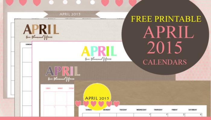 Free Printable April 2015 Calendar by Shining Mom