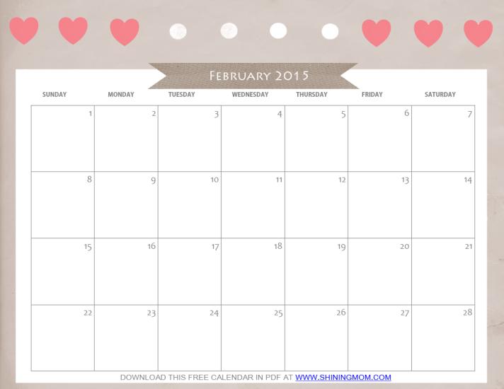 free printable february 2015 calendar cute