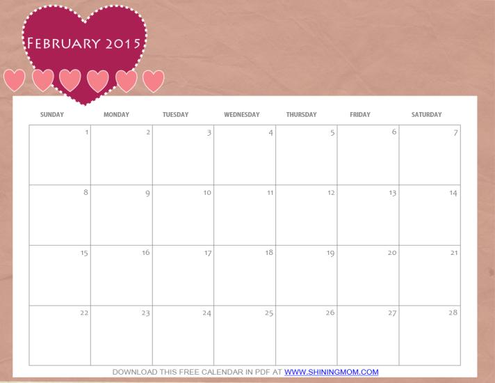 free printable february 2015 calendar in pdf