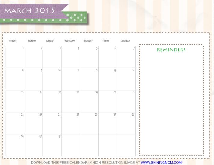 free printable march 2015 calendar