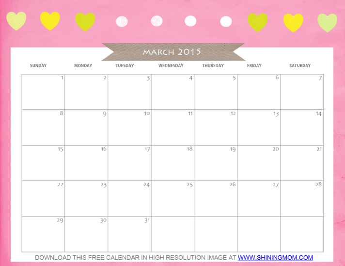 Free Printable March 2015 Calendar Cute And Pretty