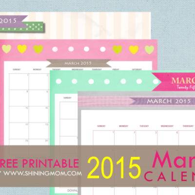 Free Printable March 2015 Calendar: Cute and Pretty!