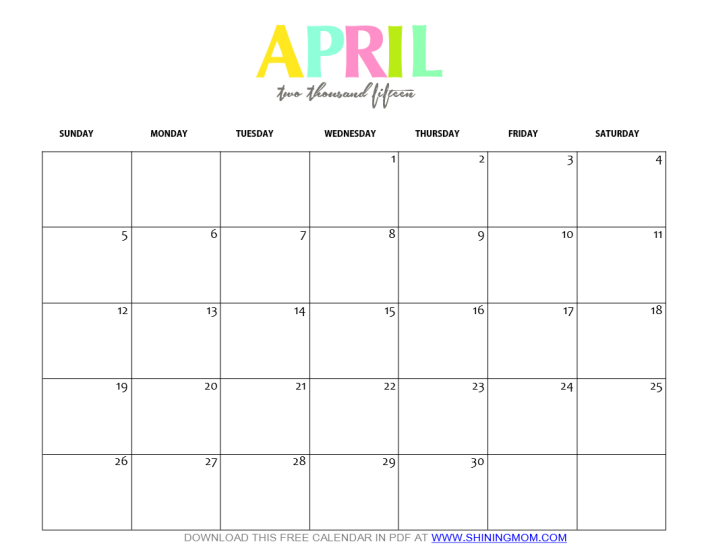 Free Printable April 2015 Calendar By Shining Mom