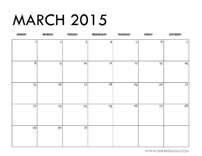MARCH 2015 blank calendar