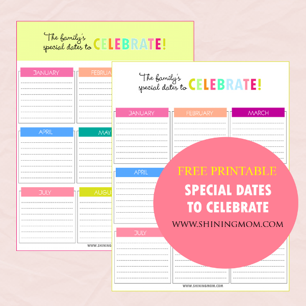 printable  charts for special dates to celebrate