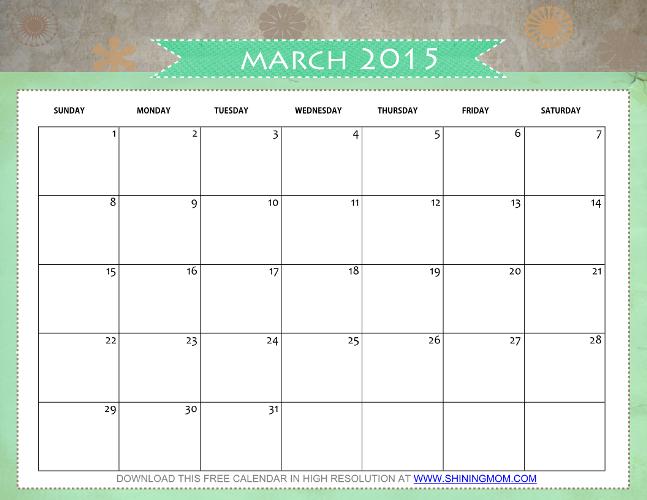 cute march 2015 calendar