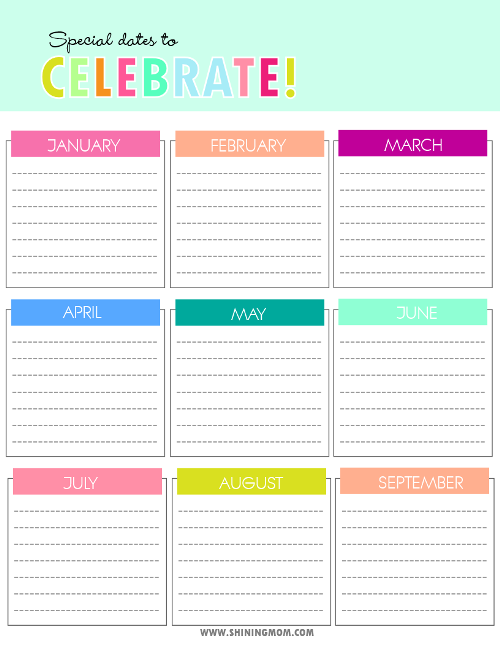 free birthday chart
