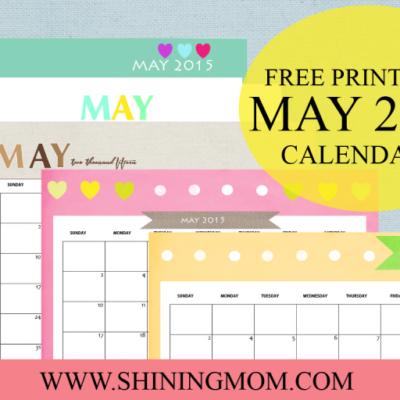 8 Refreshing Designs: Free Printable May 2015 Calendars