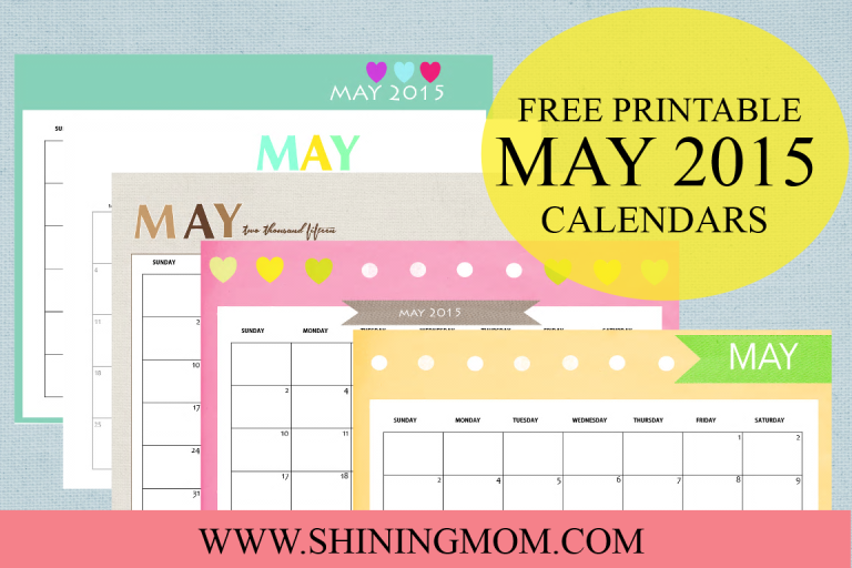 Download and print your free printable May 2015 calendar!