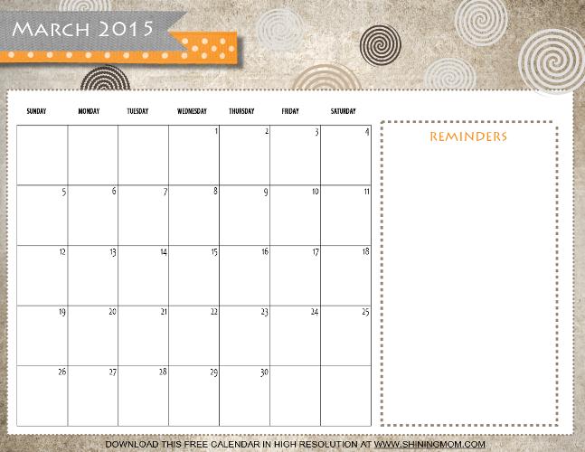 march 2015 calendar png