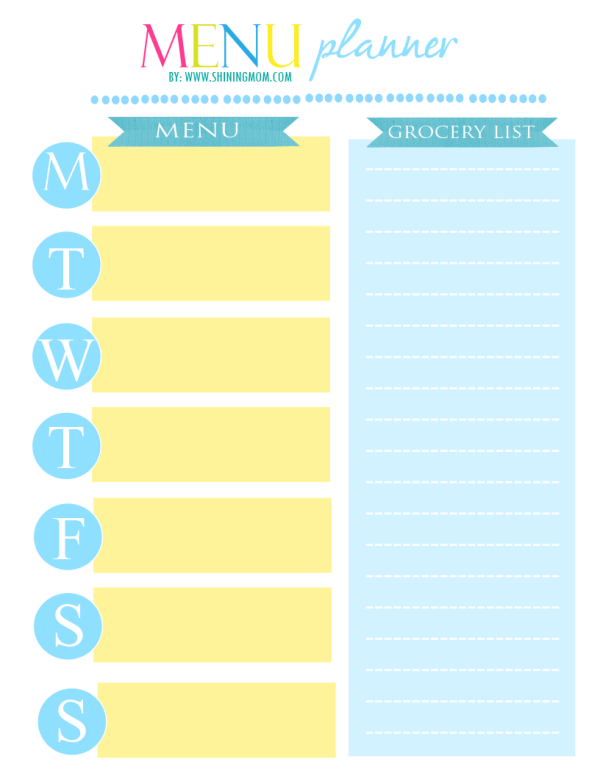 FREE PRINTABLE MENU PLANNER BY SHINING MOM