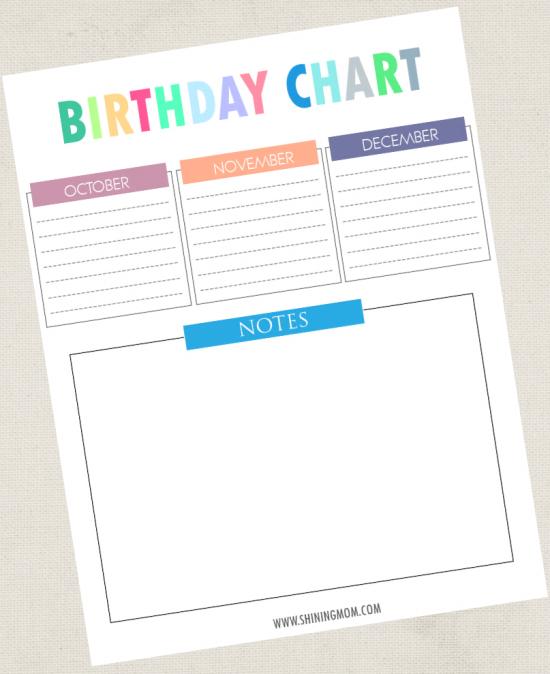 free printable birthday chart
