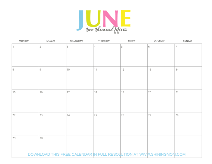 June 2015 calendar by shining mom blog