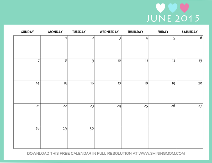 June 2015 calendar free