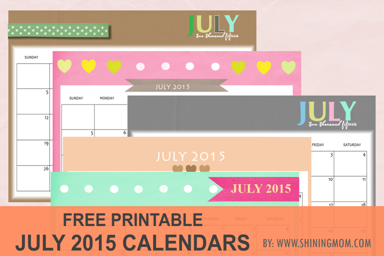 free printable july 2015 calendars via shining mom blog