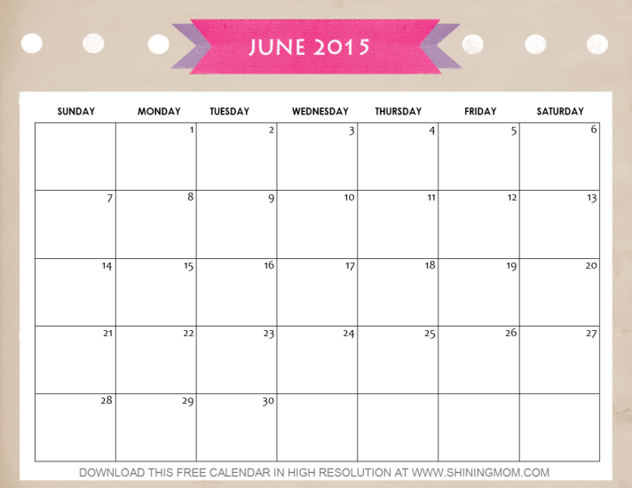 10 Pretty Calendars for June 2015