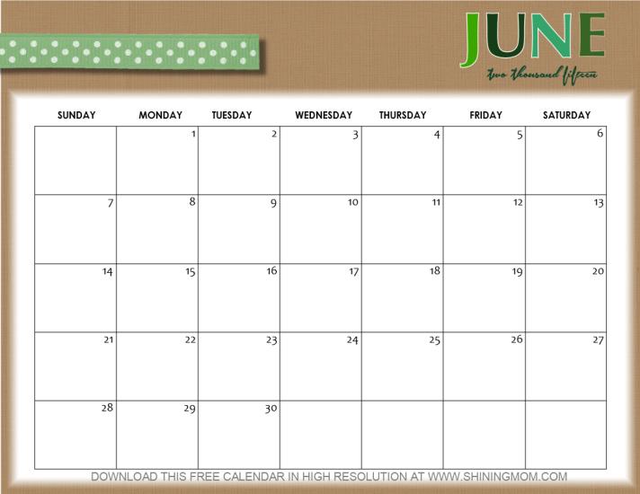 june 2015 calendar cute