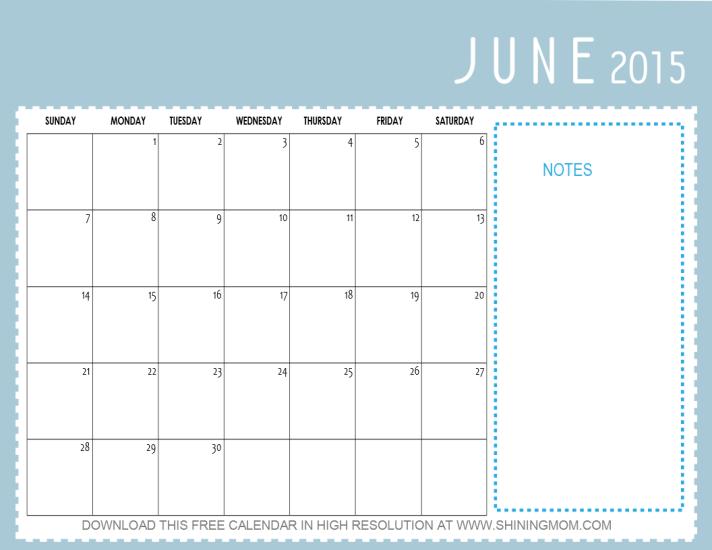 june 2015 calendar printable