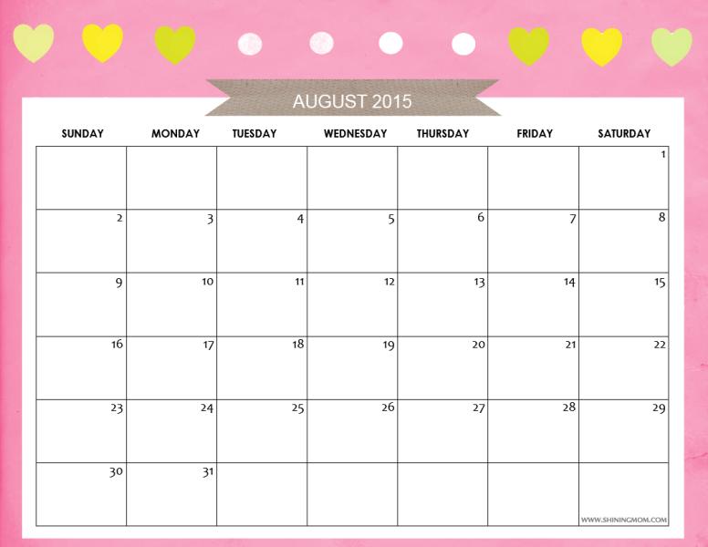 AUGUST 2015 CALENDAR FREE
