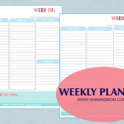 Freebie Monday: Stay organized weekly!