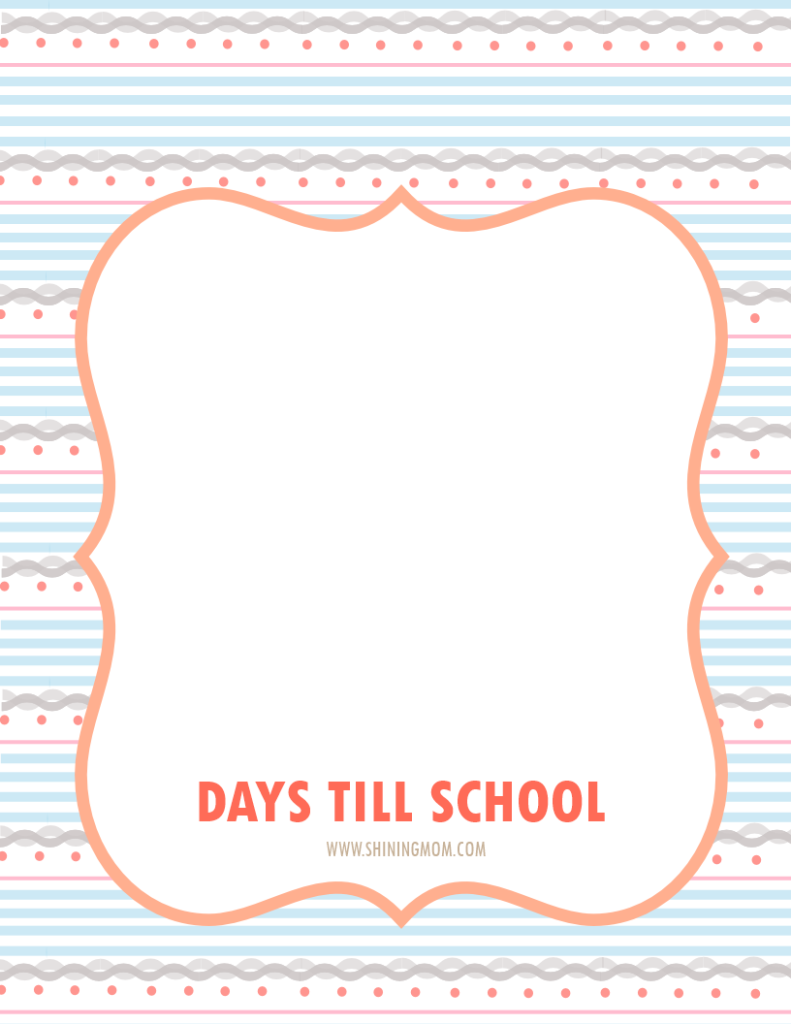 days till school free printable 1