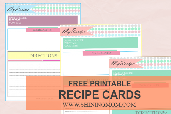 free printable recipe cards by shining mom