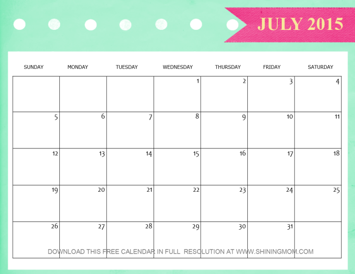 Lovely July 2015 Calendars
