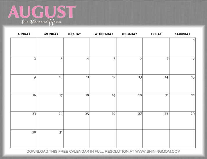 Kalender August 2015 Pictures to pin on Pinterest
