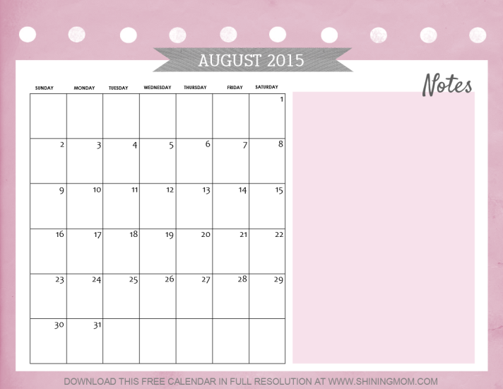 august 2015 calendar free printable