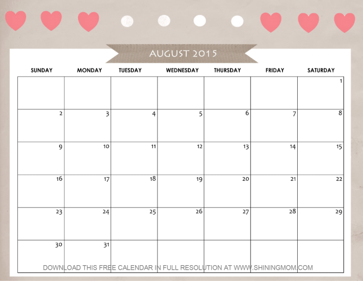 cute August 2015 calendar printable