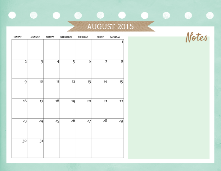 free august 2015 calendar
