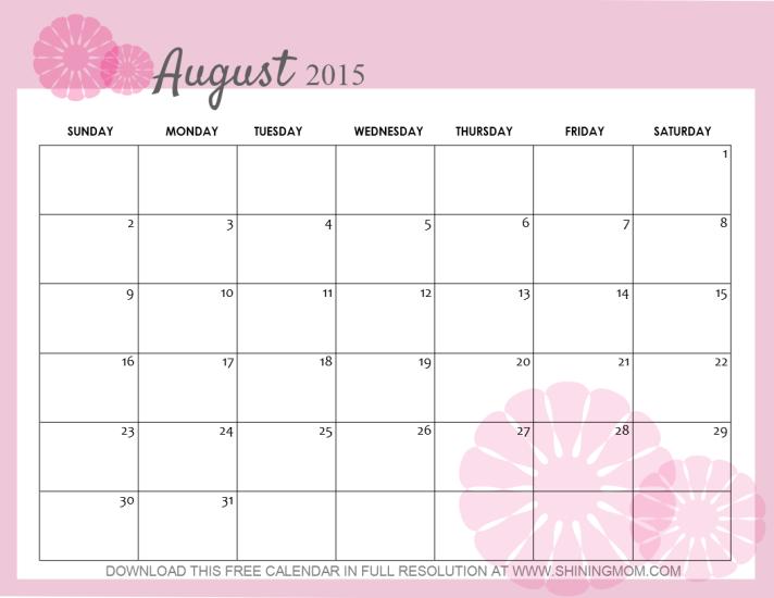 free pretty august 2015 calendar