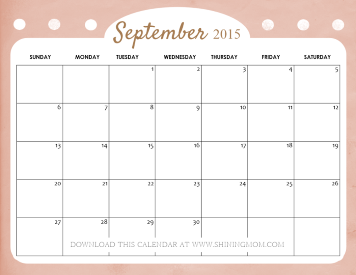 free printable September 2015 calendar cute