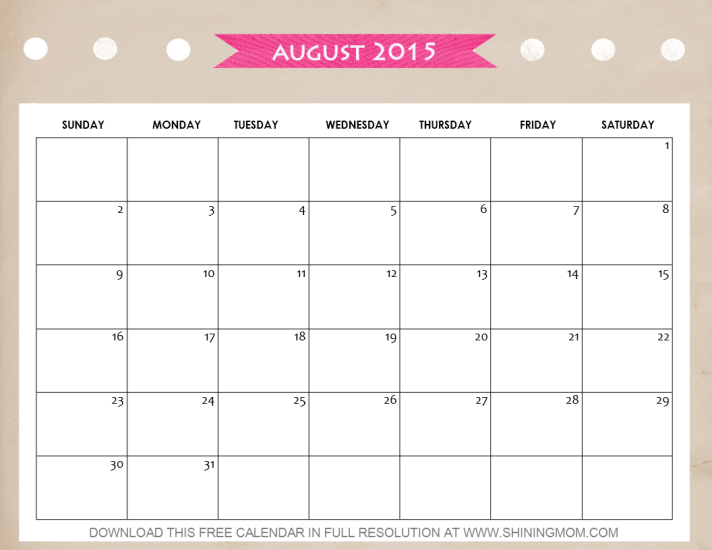free printable august 2015 calendar by shining mom