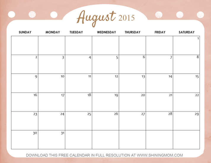 10 Lovely Calendars for August 2015
