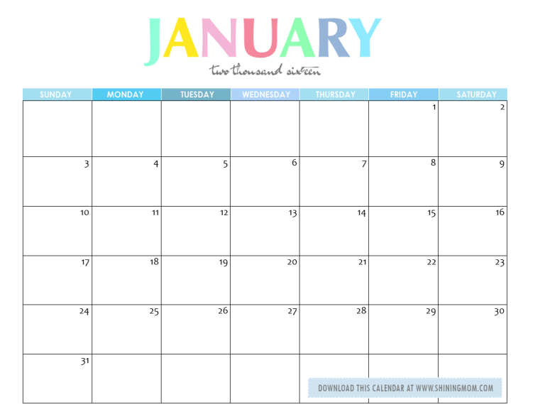 Plain Printable Desk Calendar 2016 Free January D Intended Decorating