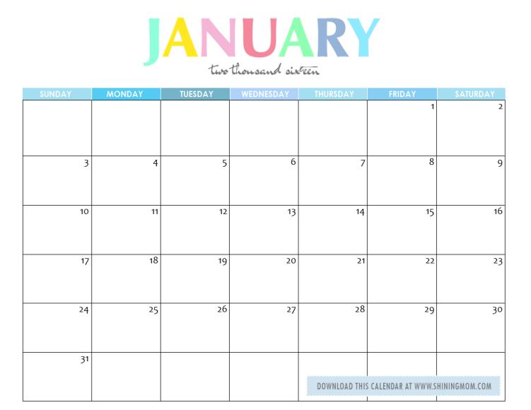 free printable january 2016 calendar