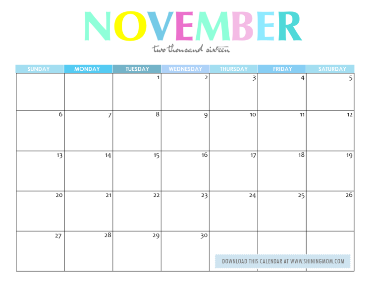 November Calendar 2016 Printable : Free printable your lovely calendars