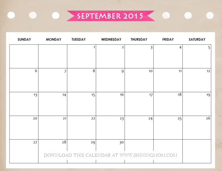 free printable september 2015 calendar shining mom