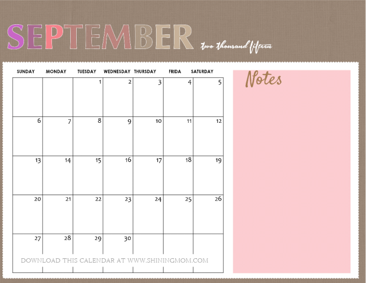 printable september 2015 calendar with notes