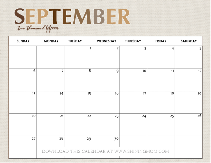 All Lovely: 10 Free Calendars for September 2015